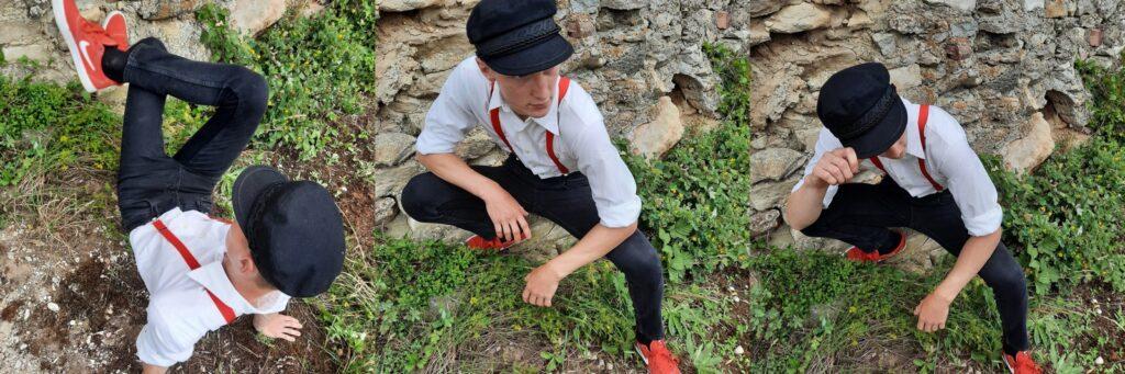 Kolm pilti musta nokkmütsi, mustade pükste, valge särgi, punaste trakside ning punaste tossudega noormehest.
